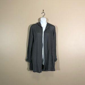 NWT Tahari Grey Linen Long Sleeve Hooded Cardigan